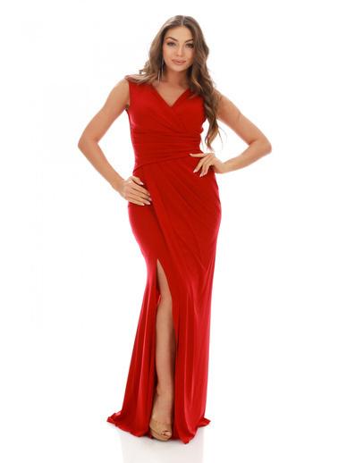 Pierre Cardin Yırtmaçlı Uzun Abiye Elbise Kırmızı